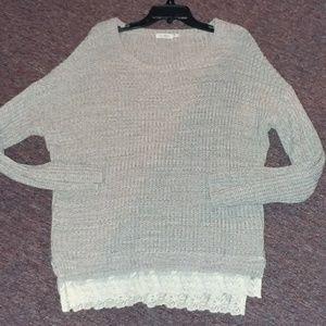 Blu Pepper sweater with lace trim